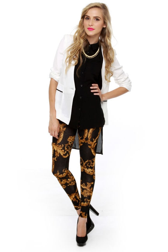 Going for Baroque Black Print Leggings