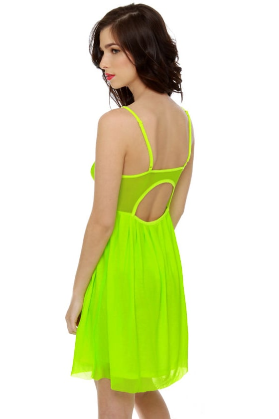Glow Stick Shift Neon Yellow Dress