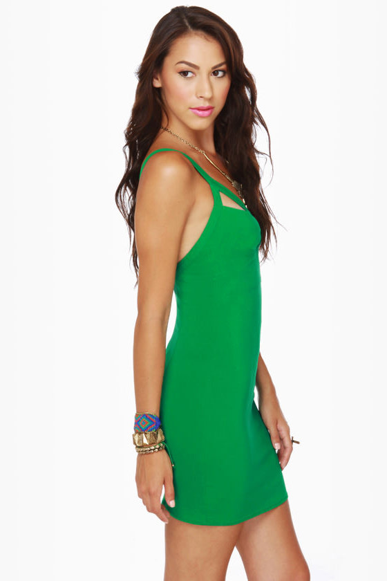 Double Take Cutout Green Dress