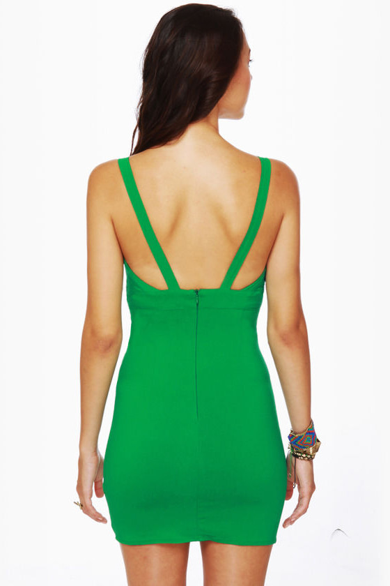 Double Take Cutout Green Dress at Lulus.com!