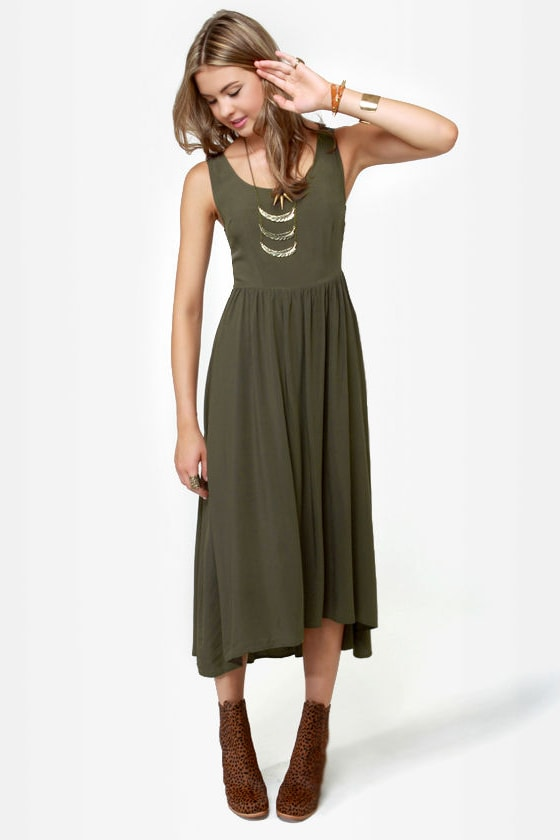 Lattice Be Merry Olive Green Dress