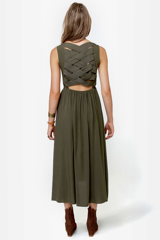 Lattice Be Merry Olive Green Dress at Lulus.com!