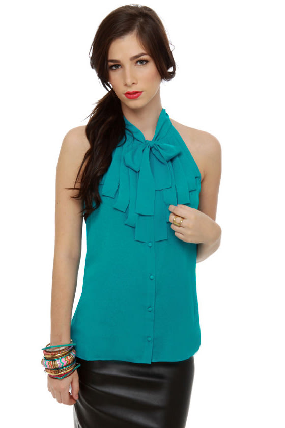 Dapper Dobbins Turquoise Top at Lulus.com!
