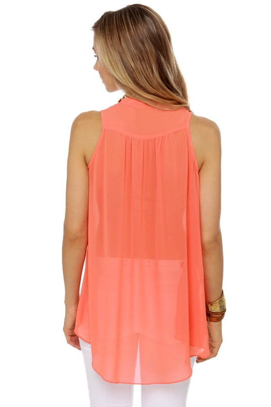 Sleeveless in Seattle Sheer Coral Top