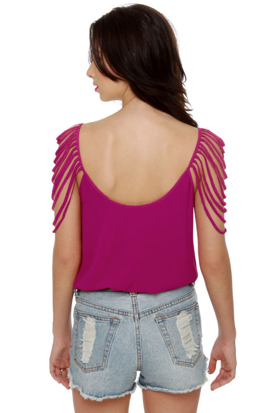 Party Looper Magenta Top at Lulus.com!