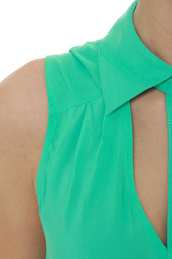Prank Collar Mint Green Tank Top