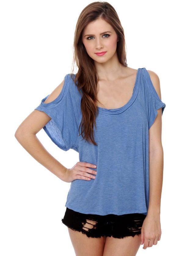 Shoulder Stay or Shoulder Go Blue Top