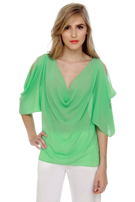 Name Dropper Short Sleeve Mint Green Top