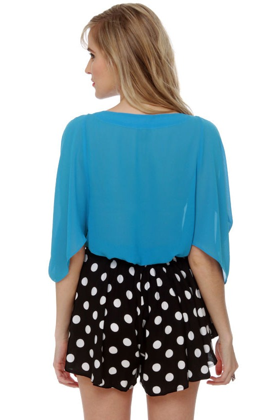 Name Dropper Short Sleeve Blue Top at Lulus.com!
