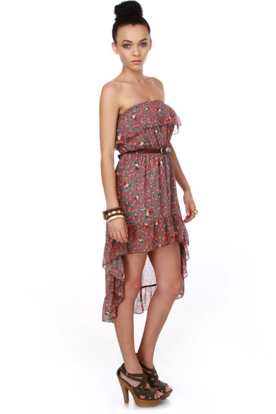 Train Station Strapless Floral Dress