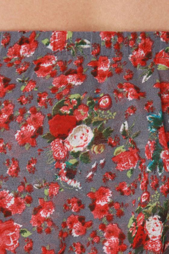 Train Station Strapless Floral Dress
