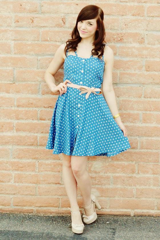 Judy Blue Eyes Chambray Polka Dot Dress