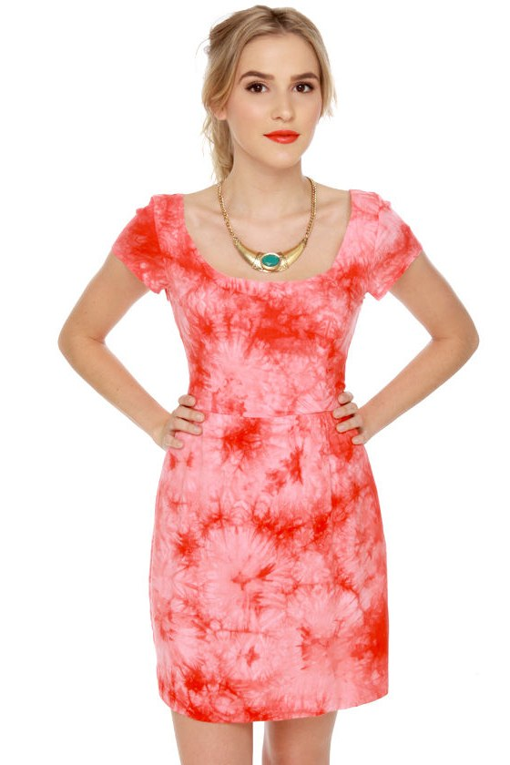 Dye-namite Red Tie-Dye Dress at Lulus.com!