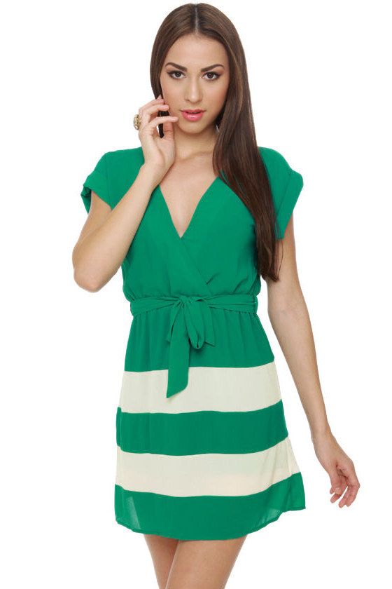 Jade Tree Striped Teal Dress
