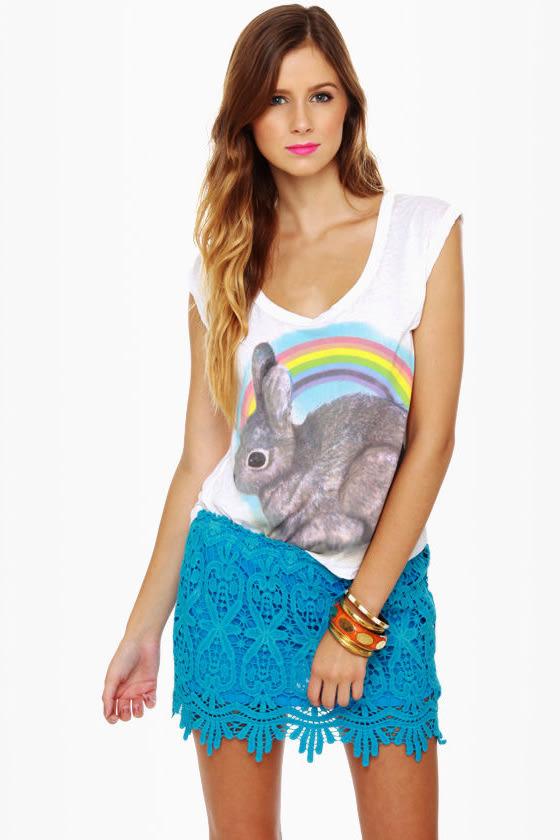 High Tea Aqua Blue Lace Mini Skirt