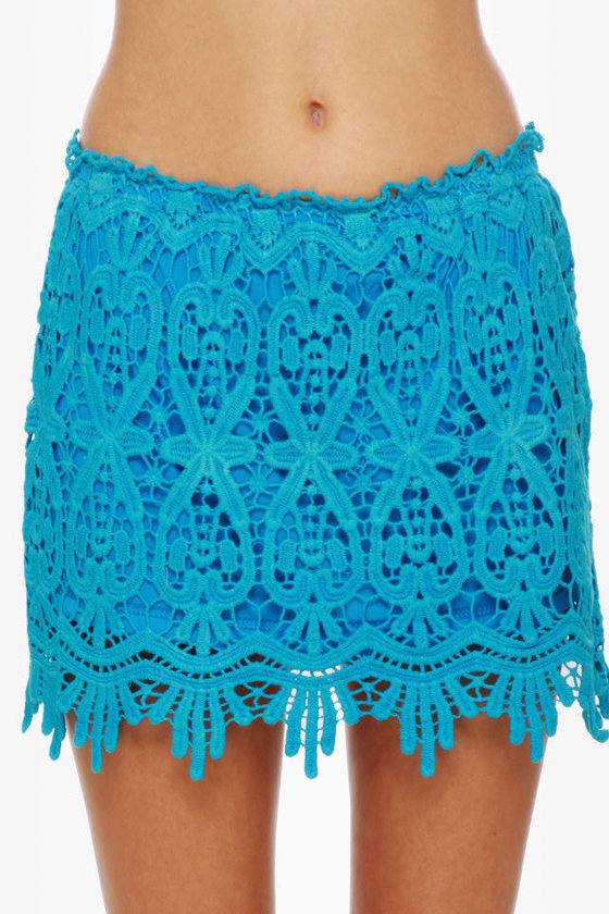 lace skirt blue skirt aqua skirt mini skirt