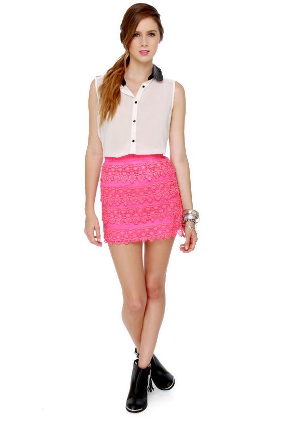 a12d574c6c Cute Hot Pink Skirt - Lace Skirt - Mini Skirt - $39.00