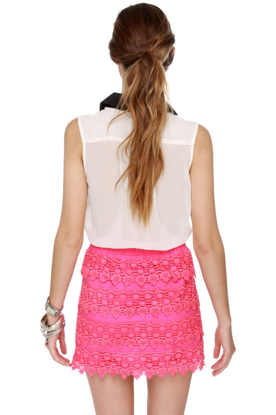 Parade-y Bunch Hot Pink Lace Mini Skirt at Lulus.com!