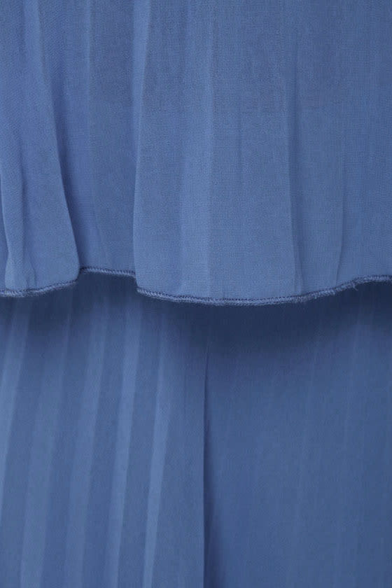 De-Pleat the Supply Strapless Blue Dress
