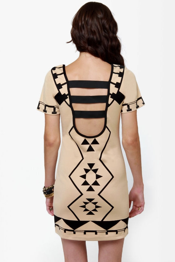 The Shape I'm In Beige Print Dress at Lulus.com!