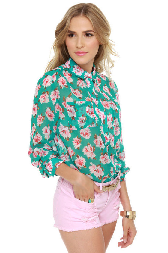 74be7d5ece3083 Pretty Floral Top - Button-Up Top - Sheer Top -  39.00