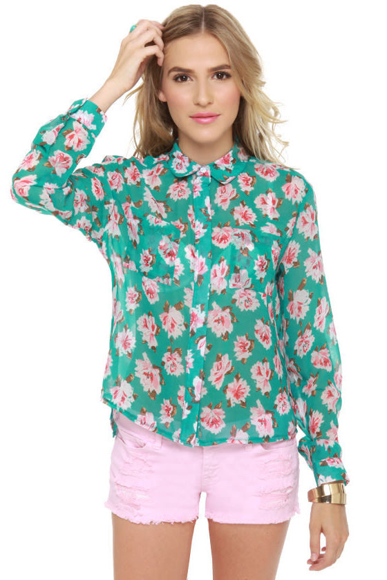 Boutonniere Up Sheer Floral Print Top