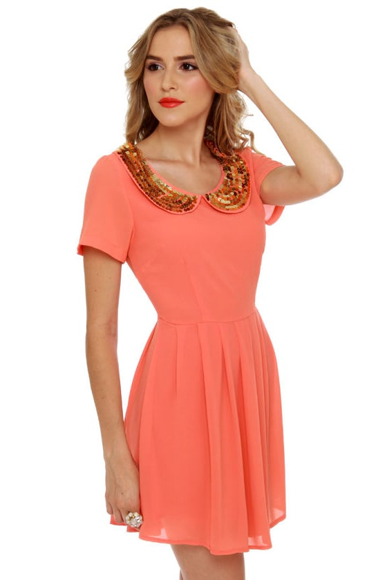 Collar Make you Holla Sequin Coral Dress