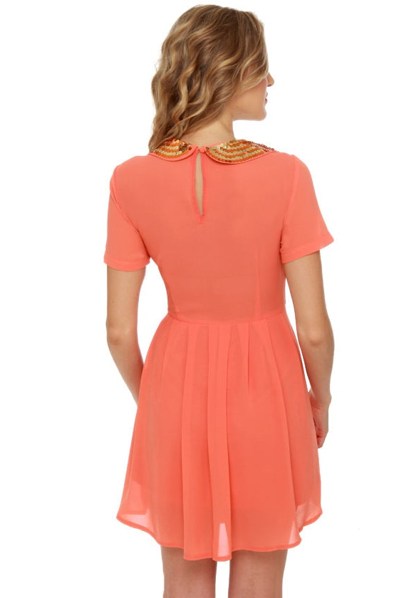 Collar Make you Holla Sequin Coral Dress at Lulus.com!