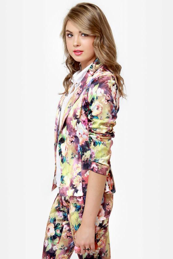 Still Life Skills Floral Print Blazer at Lulus.com!