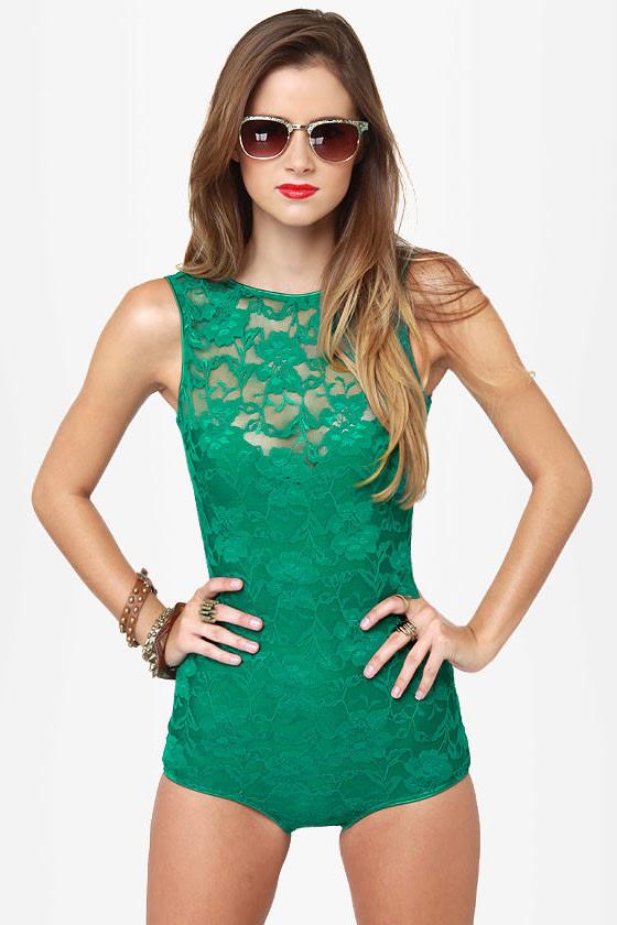 b14cffc8e74 One Rad Girl Avery Romper - Green Bodysuit - Lace Bodysuit -  64.00