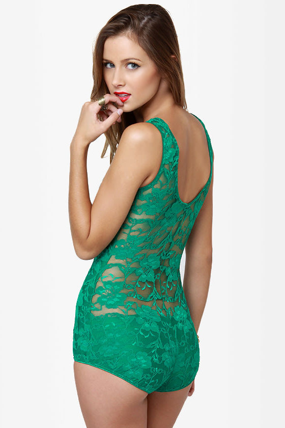 One Rad Girl Avery Green Lace One-Piece at Lulus.com!