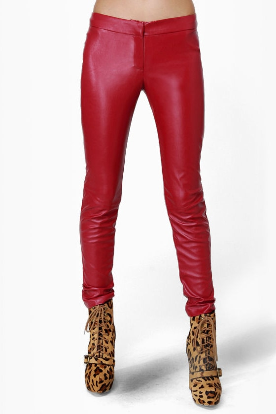 Pretty Slick Red Vegan Leather Skinny Pants