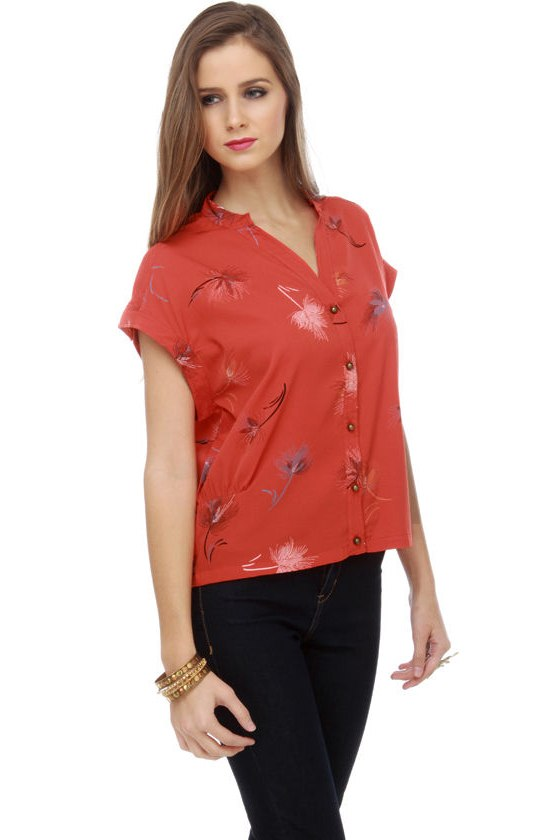 O\'Neill Majestic Print Orange Top