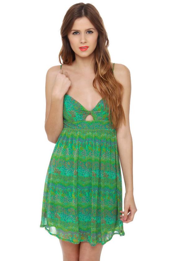 O\'Neill Neon Rainbow Green Print Dress