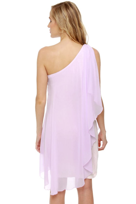 Pastel-ivision One Shoulder Lavender Dress