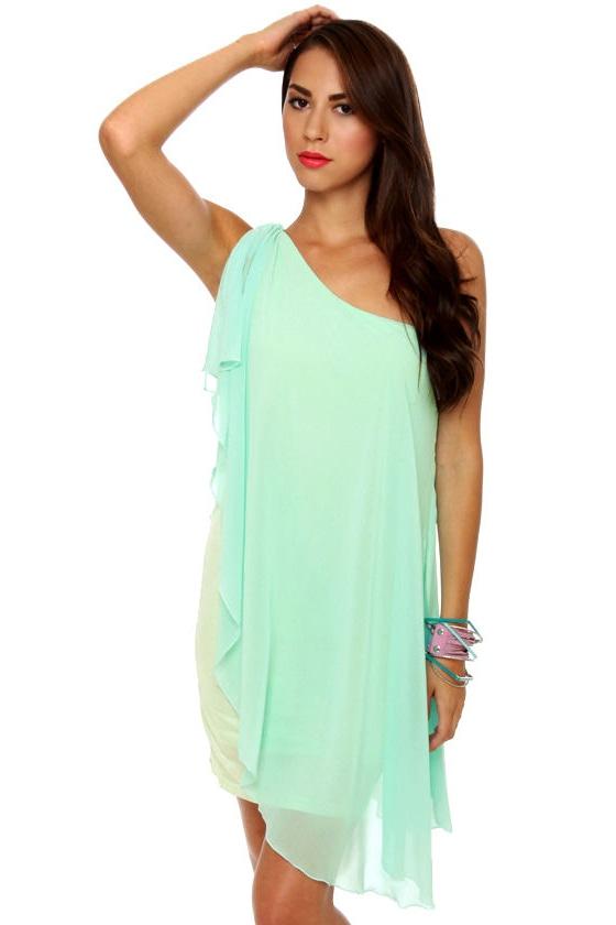 Pastel-ivision One Shoulder Mint Blue Dress
