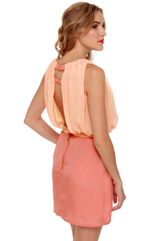 Sneaky Peaches Blush and Peach Dress