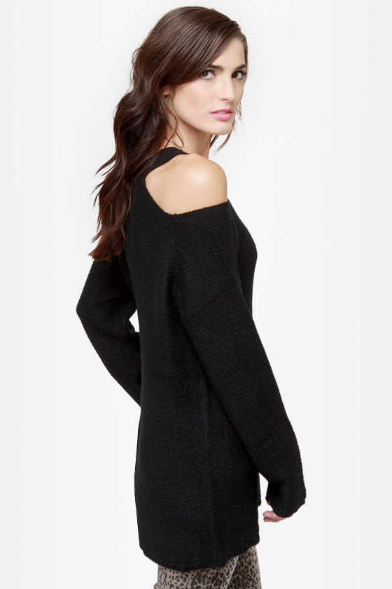 A Bolder Shoulder Black Sweater
