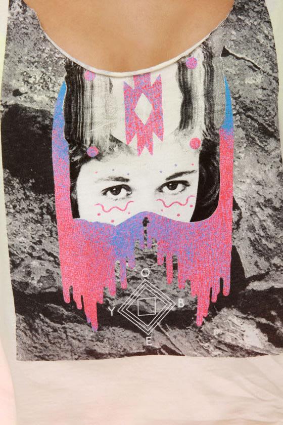 Obey Interstellar Distressed Print Crop Top