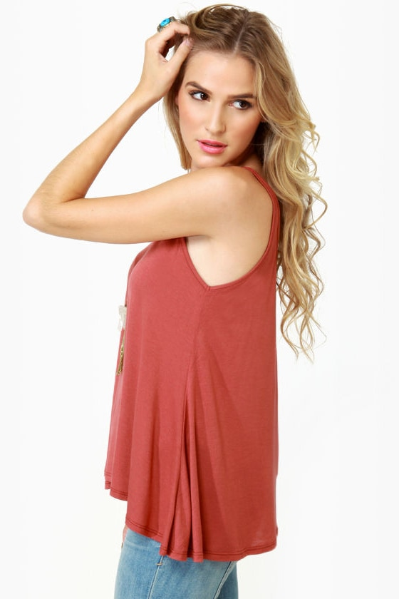 Obey Heartbreaker Rust Red Tank Top