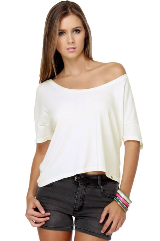 Obey Vintage Ivory Crop Top at Lulus.com!