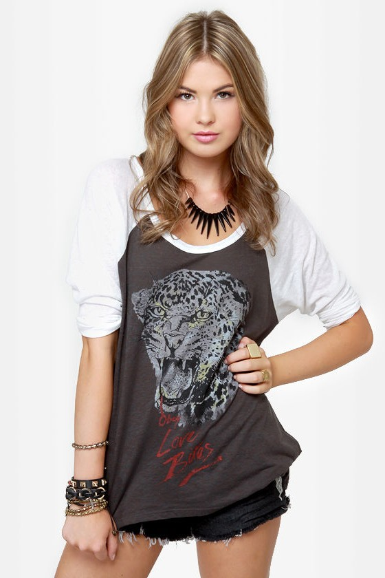 Obey Love Bites Nubby Raglan Top