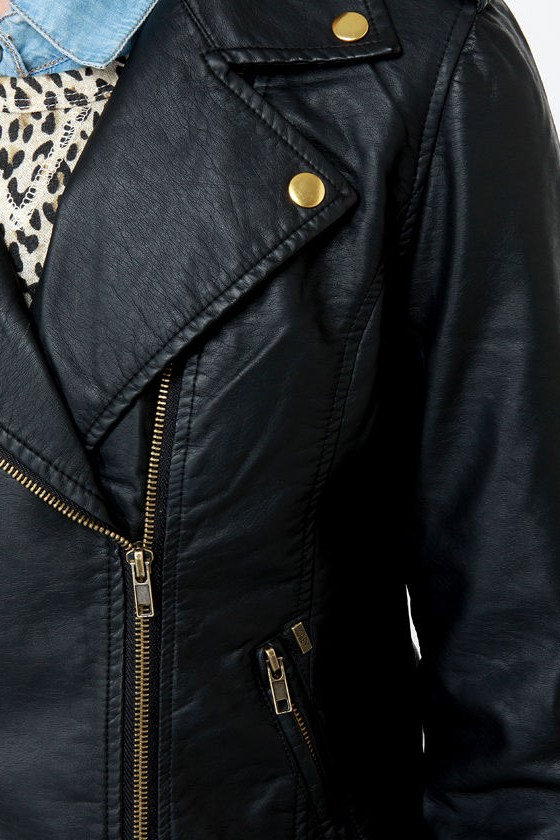 Obey Eastsider Black Vegan Leather Jacket