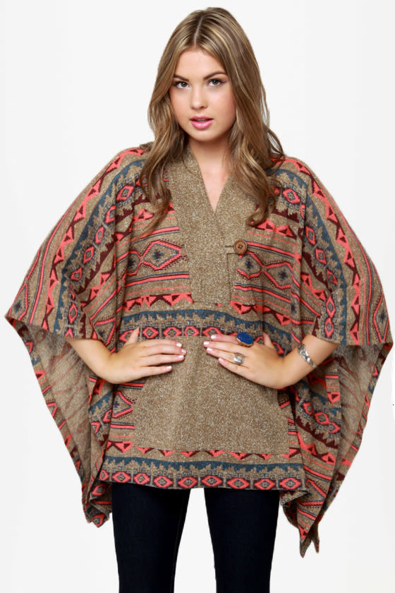 Obey Drifter Southwest Print Poncho Sweater