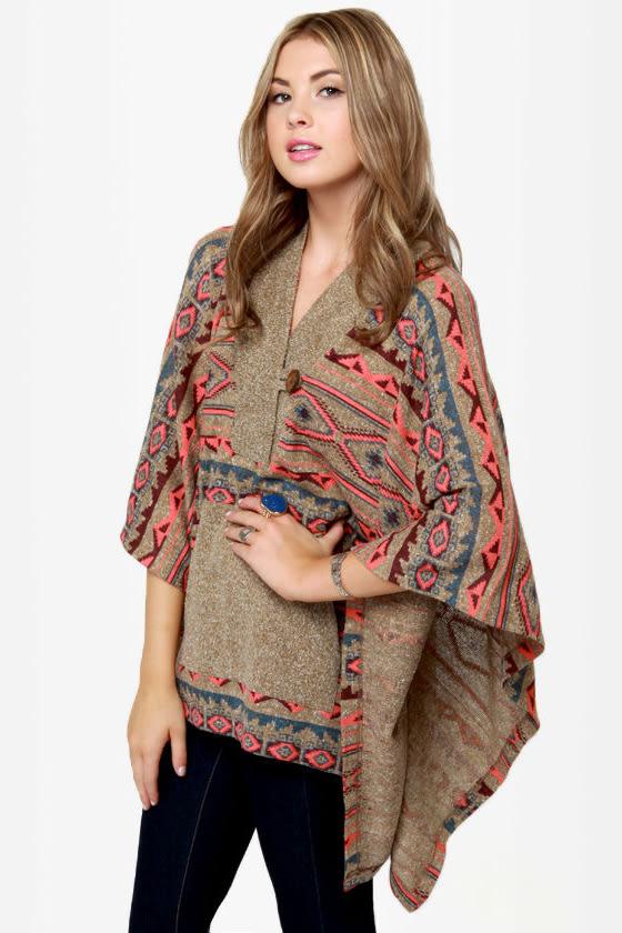 Obey Drifter Southwest Print Poncho Sweater