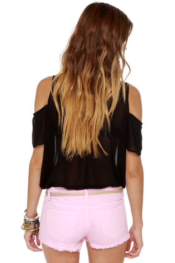 Shortcut-off Slashed Pink Denim Shorts