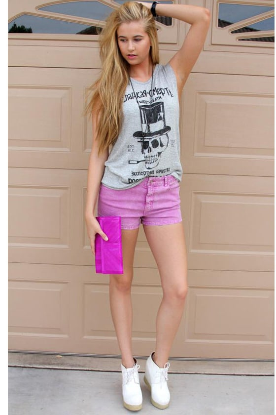 California Girls Acid Dye Purple Denim Shorts