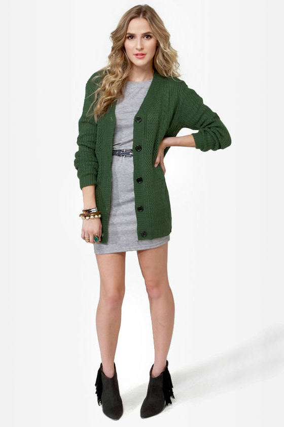 Cardi Hearty Green Cardigan Sweater at Lulus.com!