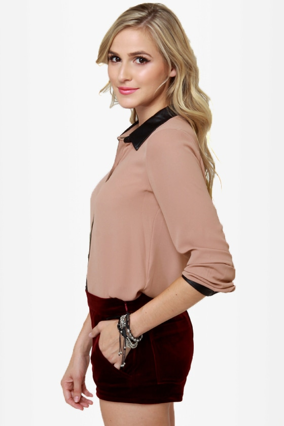 Livin\' On the Edge Blush Button-Up Top