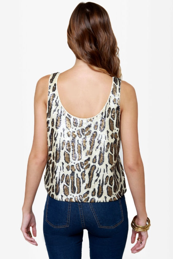Quite the Cat-ch Animal Print Sequin Top